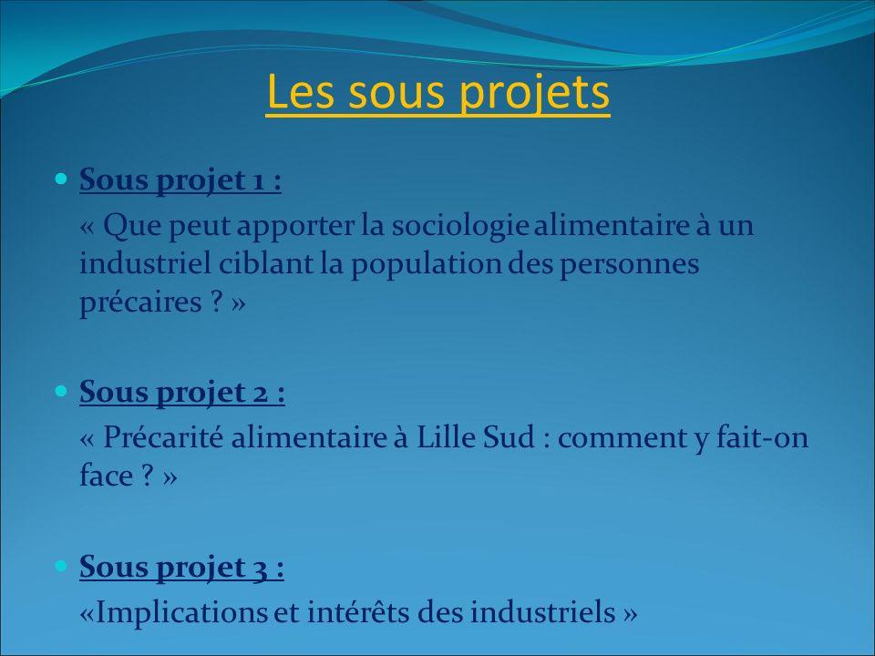 Les sous projets Sous projet 1 :