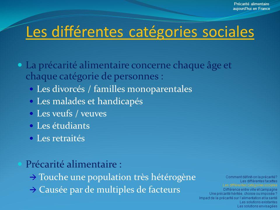 Les différentes catégories sociales