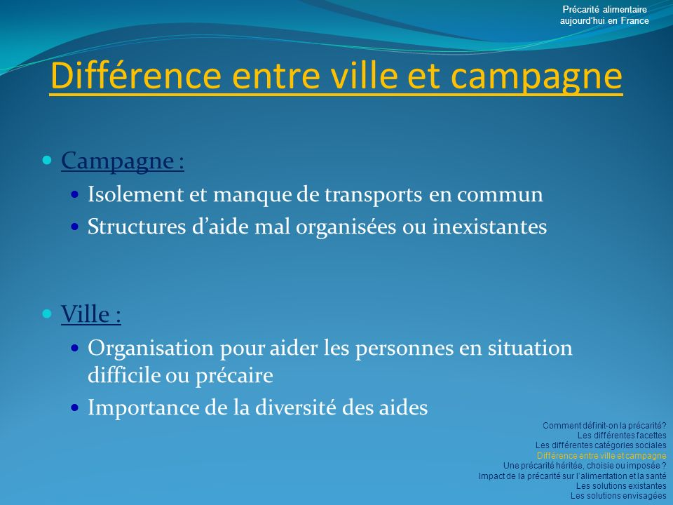 Différence entre ville et campagne