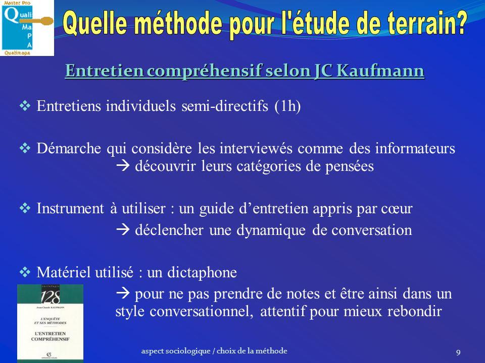 Entretien compréhensif selon JC Kaufmann