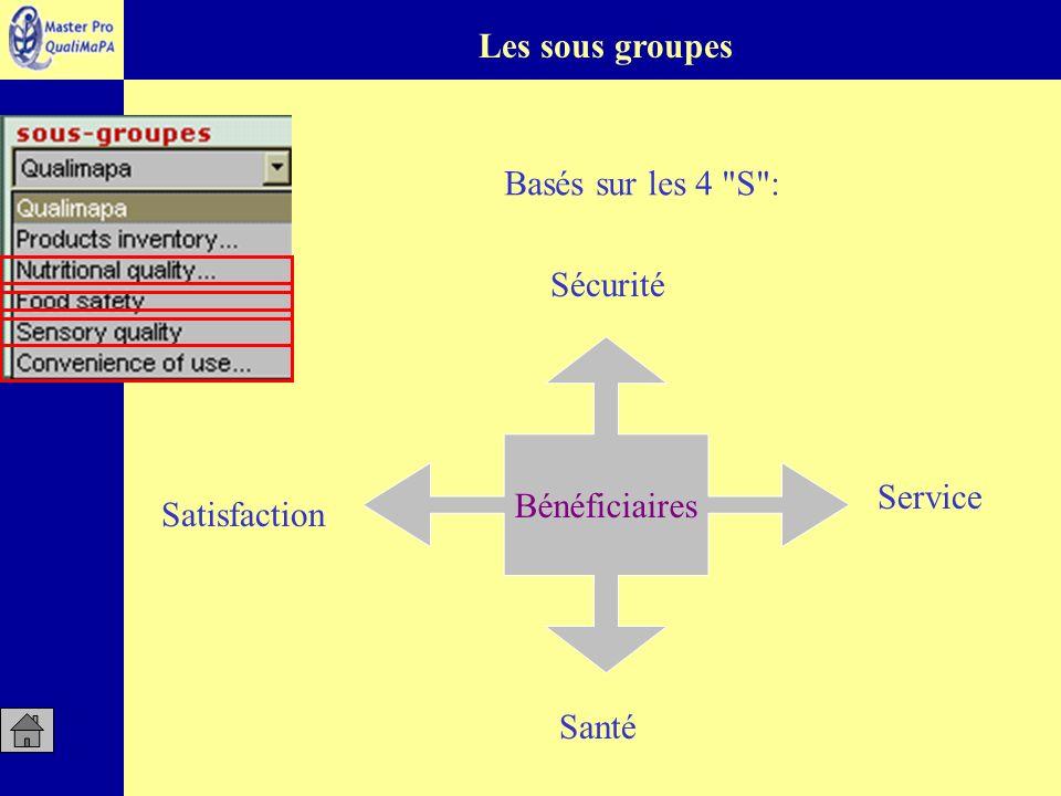 Les sous groupes Basés sur les 4 S : Sécurité Bénéficiaires Service Satisfaction Santé