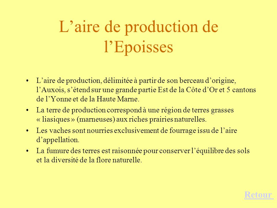 L'aire de production de l'Epoisses