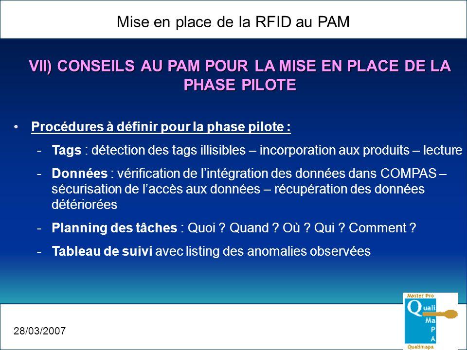 VII) CONSEILS AU PAM POUR LA MISE EN PLACE DE LA PHASE PILOTE