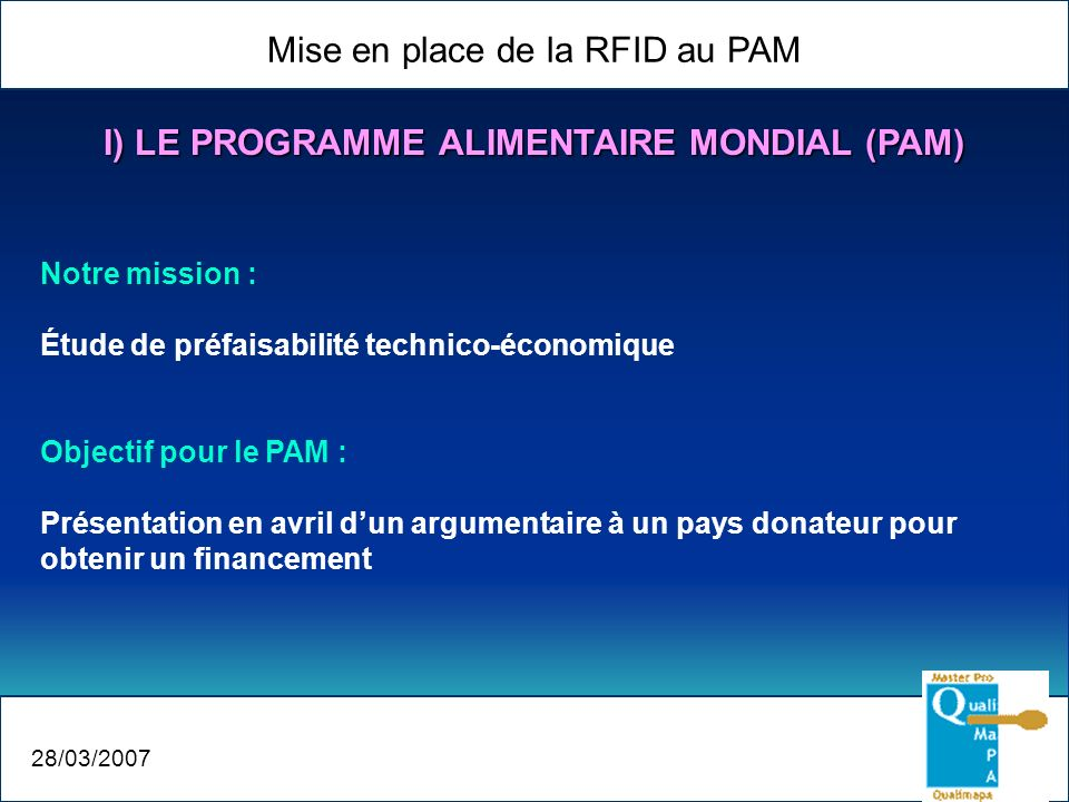 I) LE PROGRAMME ALIMENTAIRE MONDIAL (PAM)