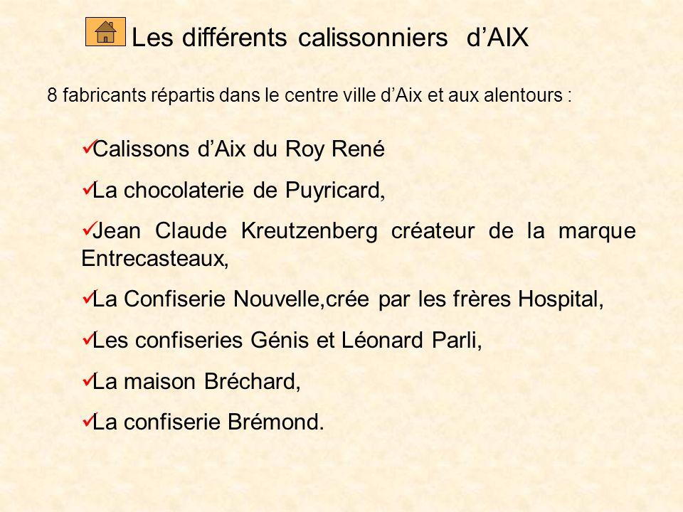 Les différents calissonniers d'AIX