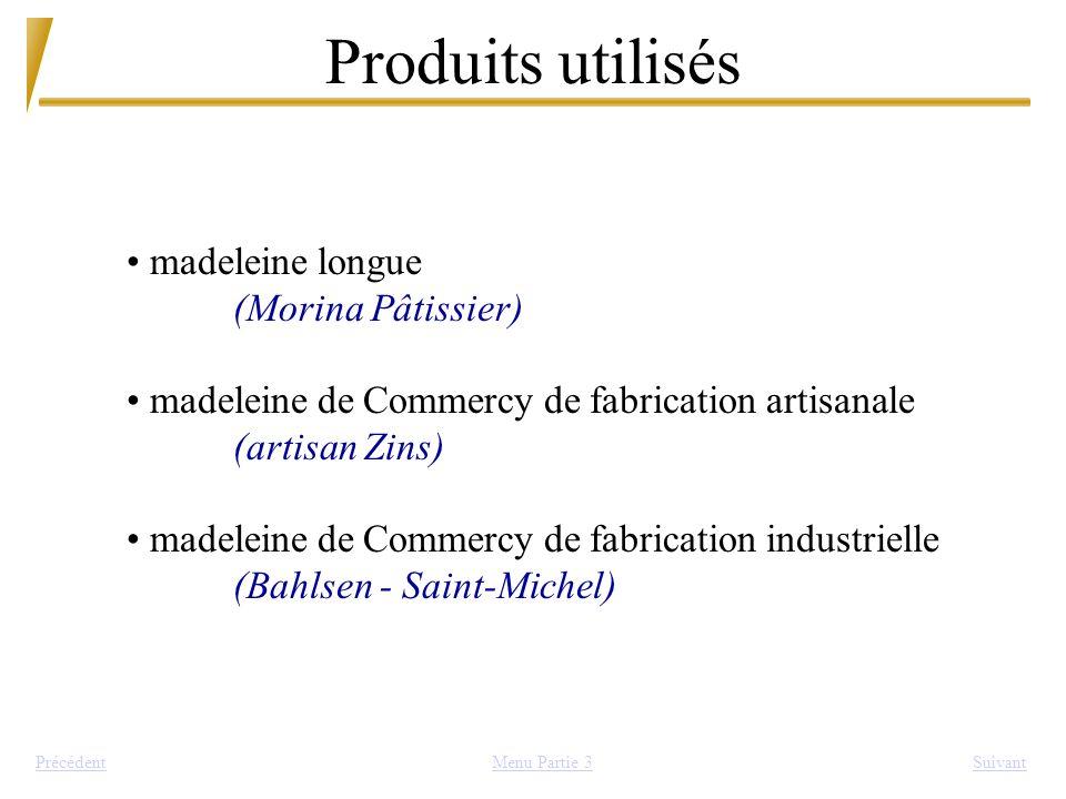 Produits utilisés madeleine longue (Morina Pâtissier)