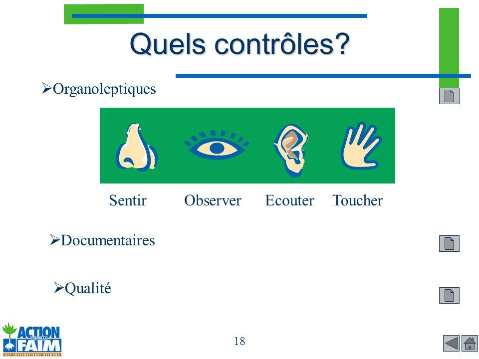 Quels contrôles Organoleptiques Sentir Observer Ecouter Toucher