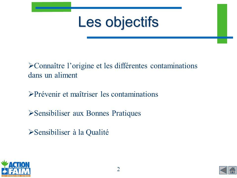 Les objectifs Connaître l'origine et les différentes contaminations dans un aliment. Prévenir et maîtriser les contaminations.
