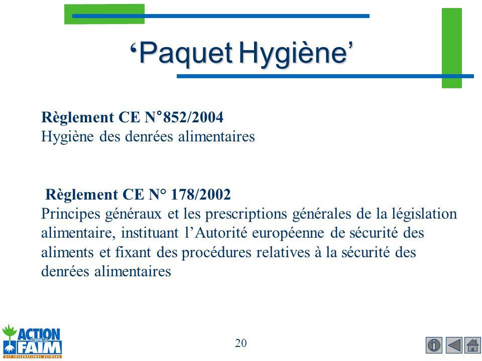 'Paquet Hygiène' Règlement CE N°852/2004