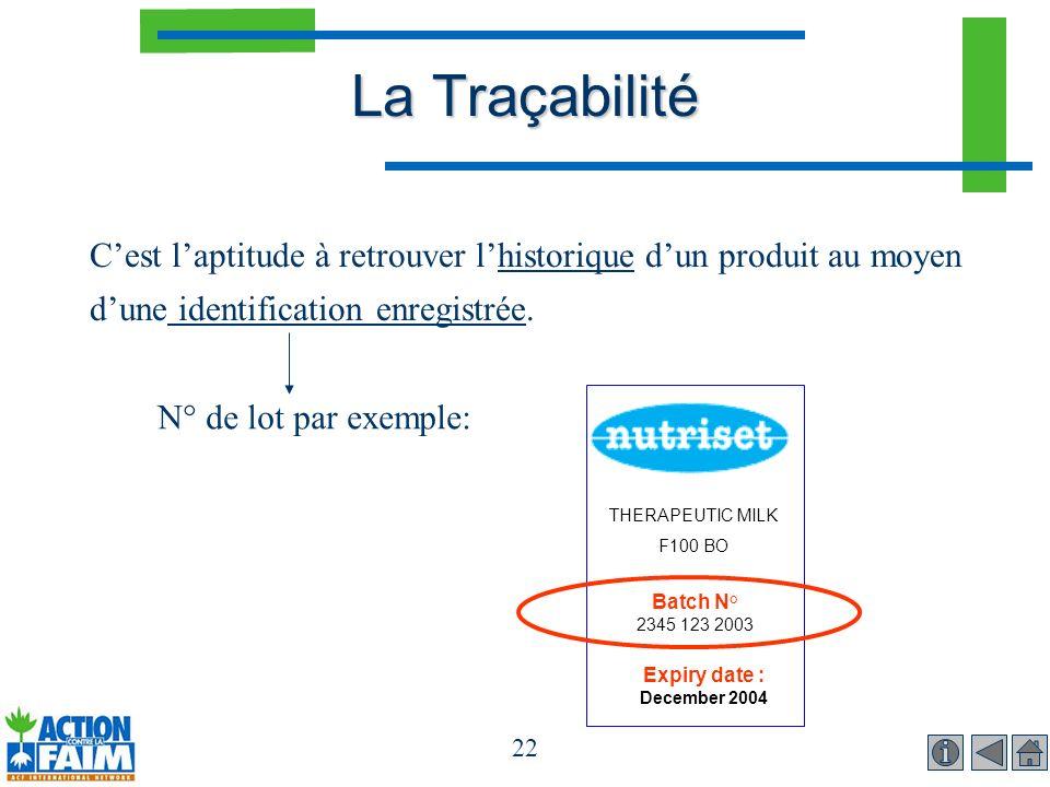 La Traçabilité C'est l'aptitude à retrouver l'historique d'un produit au moyen d'une identification enregistrée.
