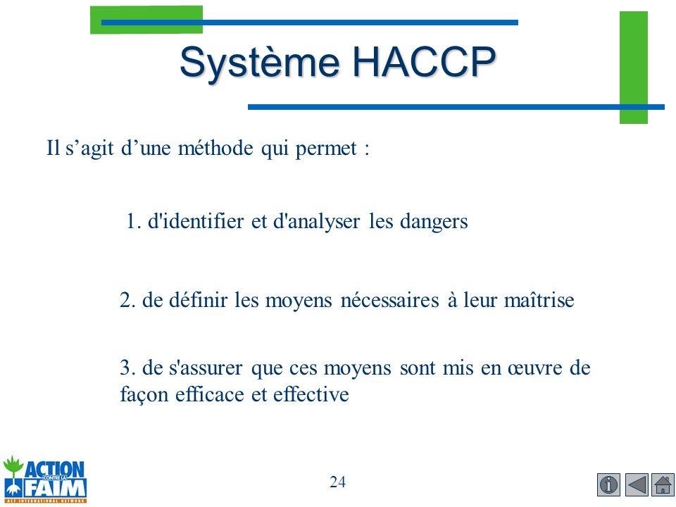 Système HACCP Il s'agit d'une méthode qui permet :