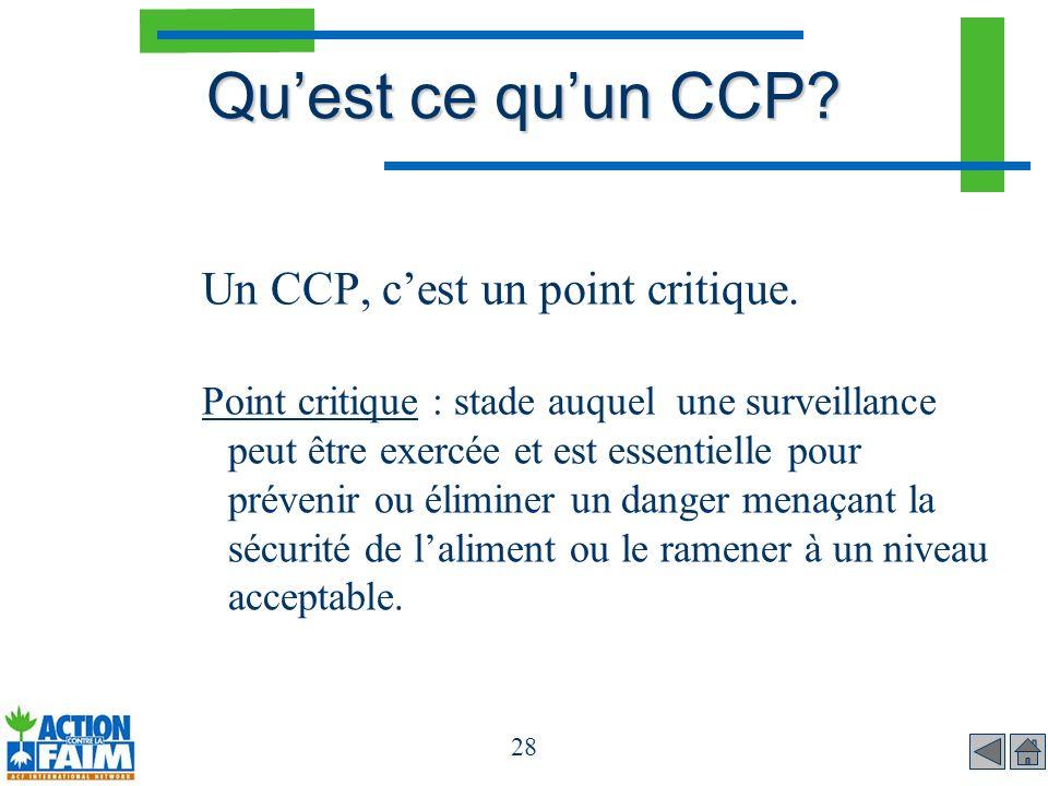 Qu'est ce qu'un CCP Un CCP, c'est un point critique.