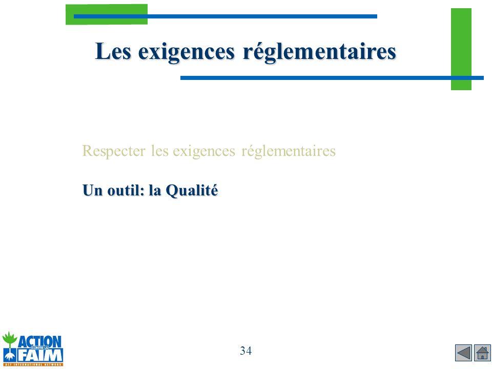 Les exigences réglementaires