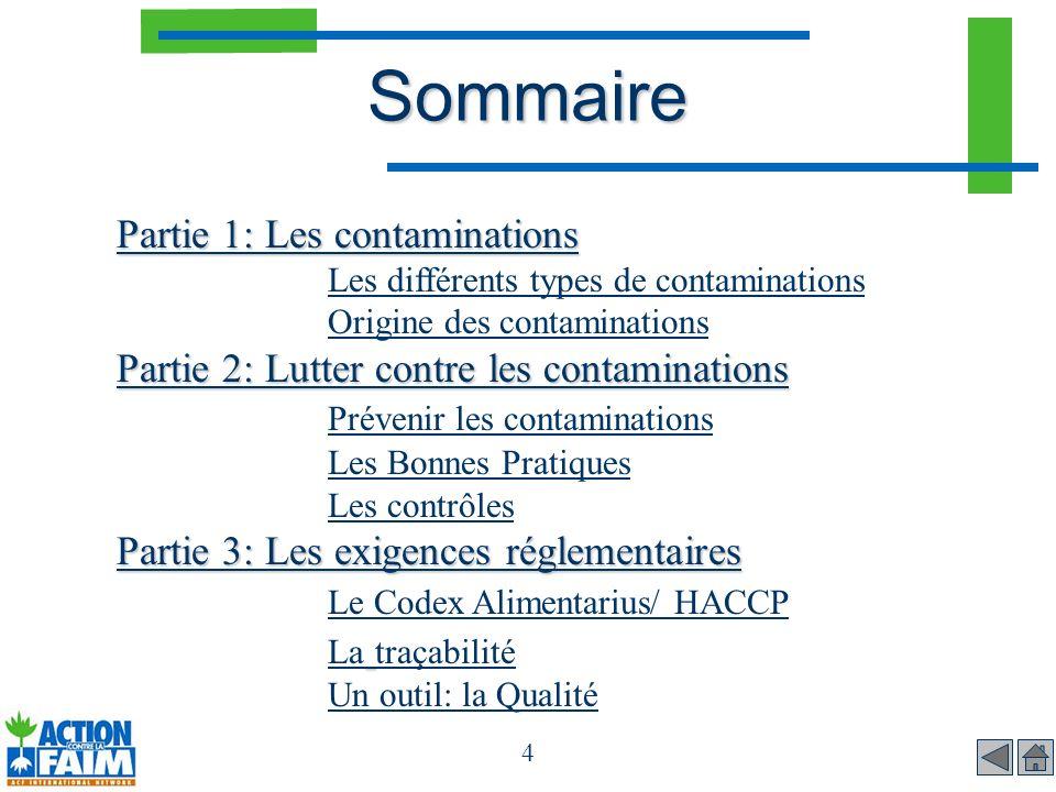 Sommaire Partie 1: Les contaminations