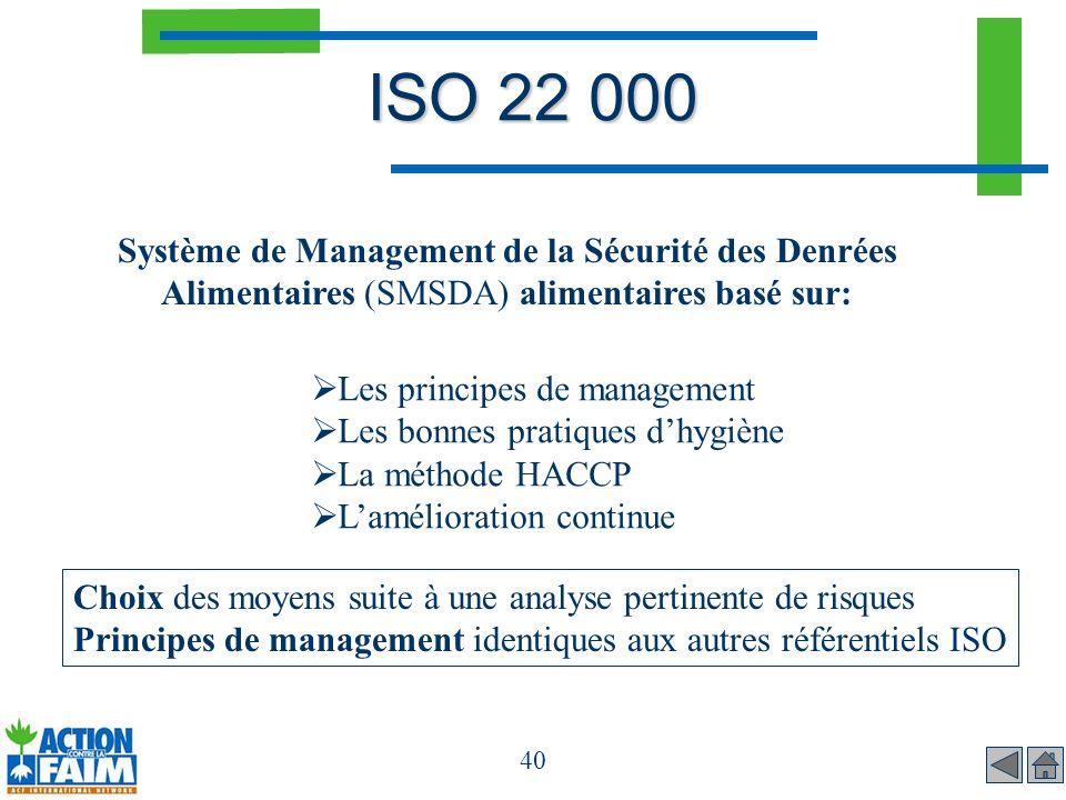 ISO 22 000 Système de Management de la Sécurité des Denrées Alimentaires (SMSDA) alimentaires basé sur: