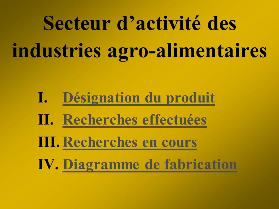 Secteur d'activité des industries agro-alimentaires