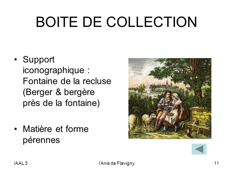 BOITE DE COLLECTION Support iconographique : Fontaine de la recluse (Berger & bergère près de la fontaine)