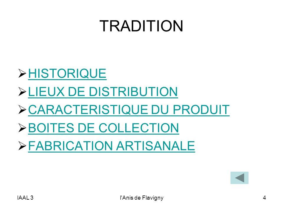 TRADITION HISTORIQUE LIEUX DE DISTRIBUTION CARACTERISTIQUE DU PRODUIT
