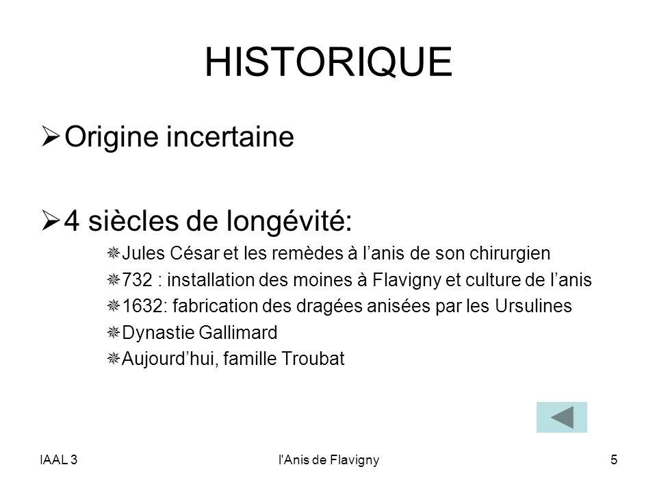 HISTORIQUE Origine incertaine 4 siècles de longévité: