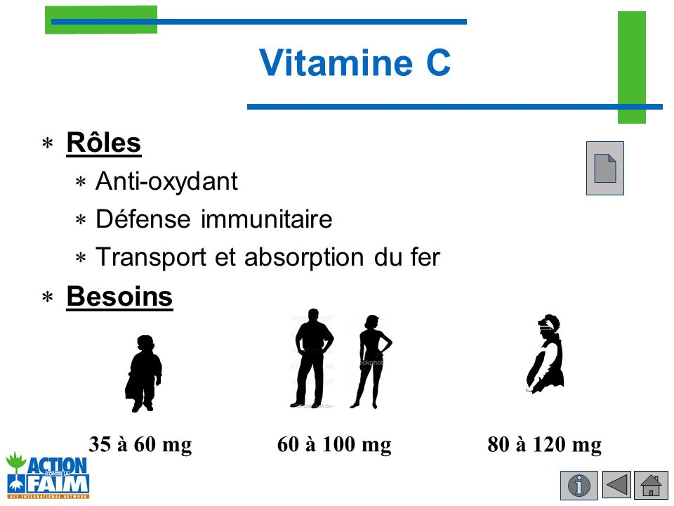 Vitamine C Rôles Besoins Anti-oxydant Défense immunitaire
