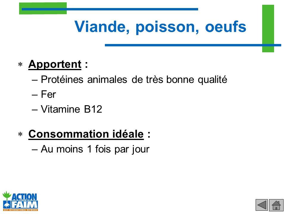 Viande, poisson, oeufs Apportent : Consommation idéale :