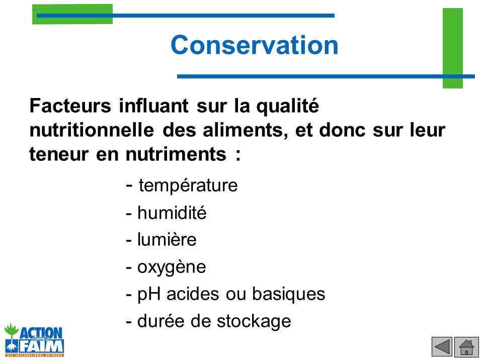 Conservation - température