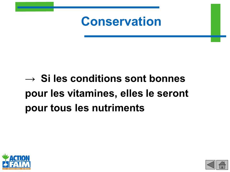 Conservation → Si les conditions sont bonnes pour les vitamines, elles le seront pour tous les nutriments.