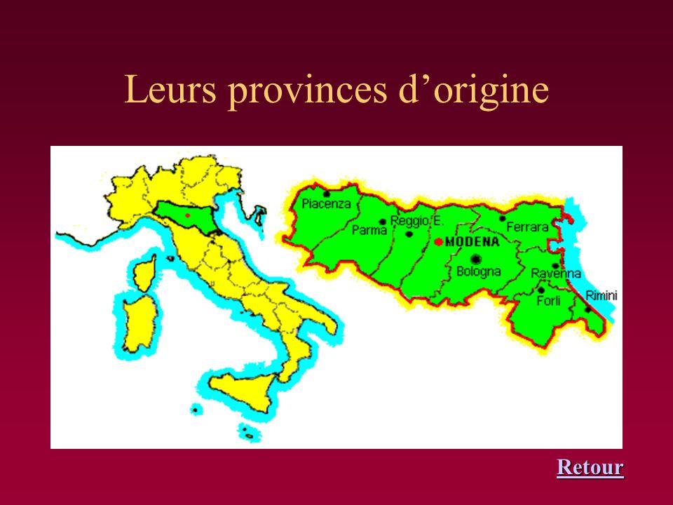 Leurs provinces d'origine