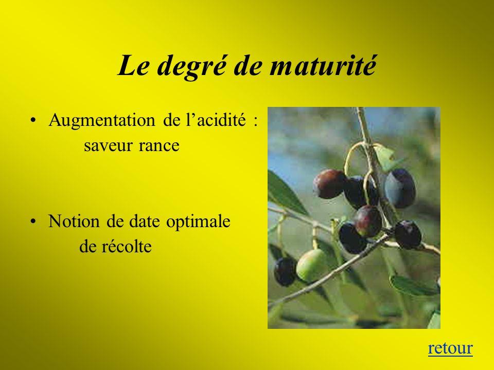 Le degré de maturité Augmentation de l'acidité : saveur rance