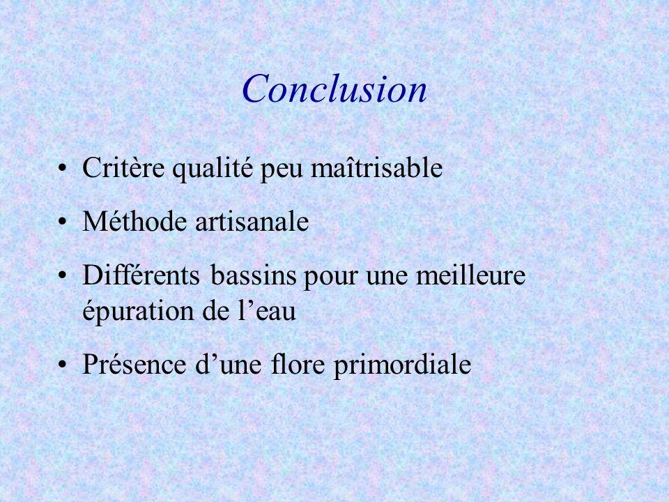 Conclusion Critère qualité peu maîtrisable Méthode artisanale