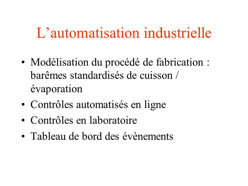 L'automatisation industrielle