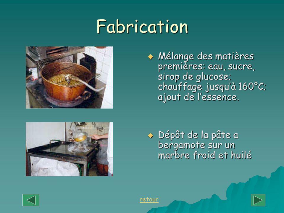 Fabrication Mélange des matières premières: eau, sucre, sirop de glucose; chauffage jusqu'à 160°C; ajout de l'essence.
