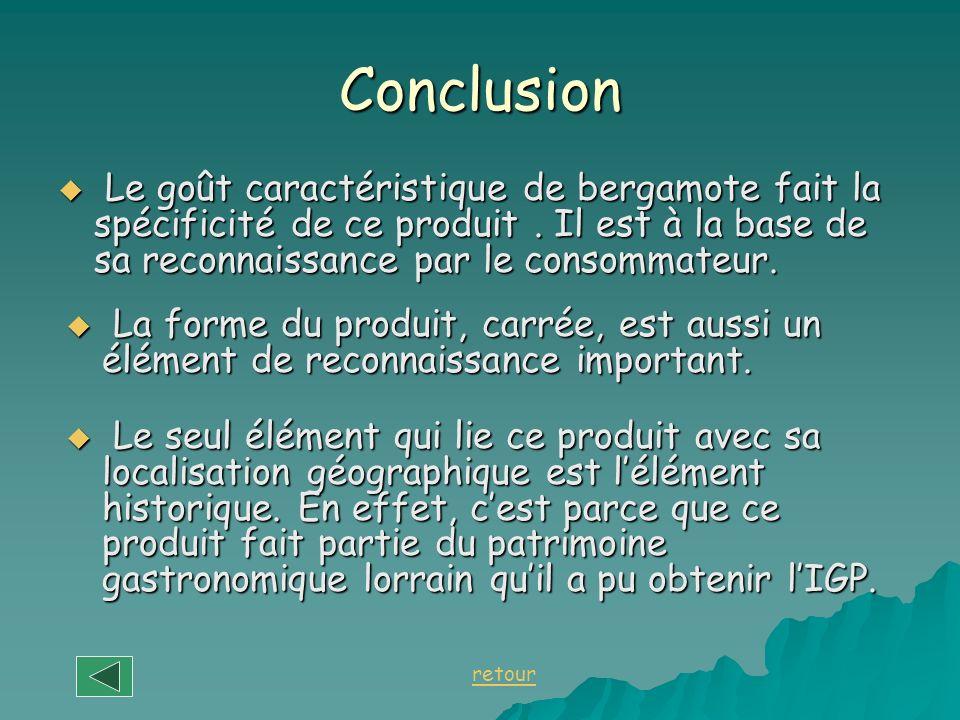 Conclusion Le goût caractéristique de bergamote fait la spécificité de ce produit . Il est à la base de sa reconnaissance par le consommateur.
