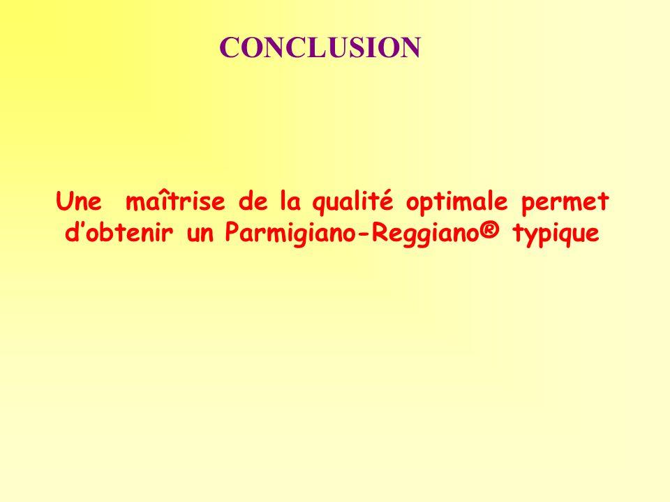 CONCLUSION Une maîtrise de la qualité optimale permet d'obtenir un Parmigiano-Reggiano® typique
