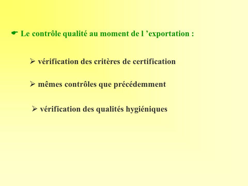  Le contrôle qualité au moment de l 'exportation :