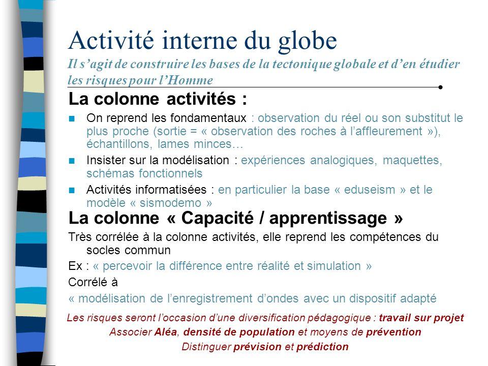 Activité interne du globe Il s'agit de construire les bases de la tectonique globale et d'en étudier les risques pour l'Homme