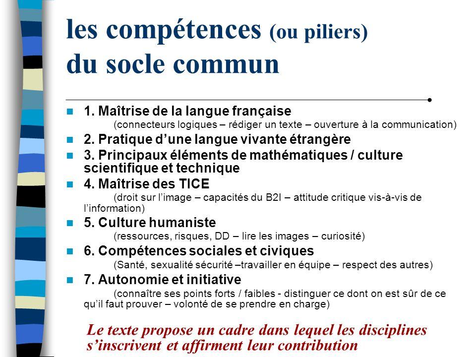 les compétences (ou piliers) du socle commun