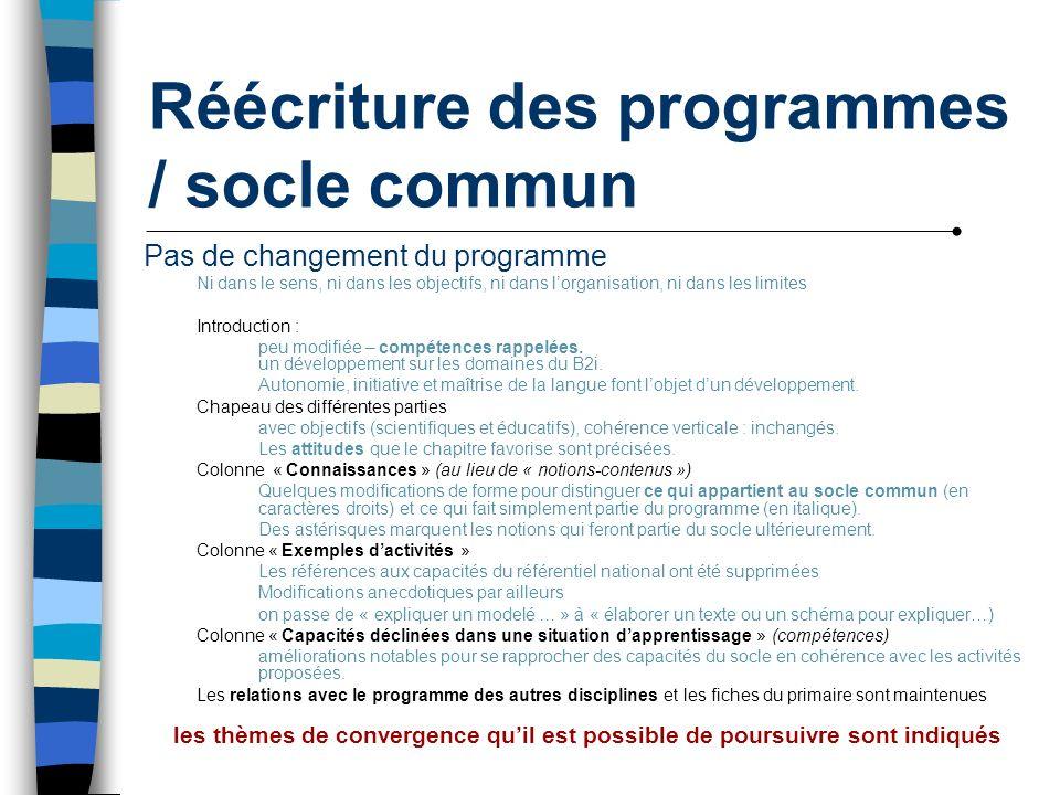 Réécriture des programmes / socle commun