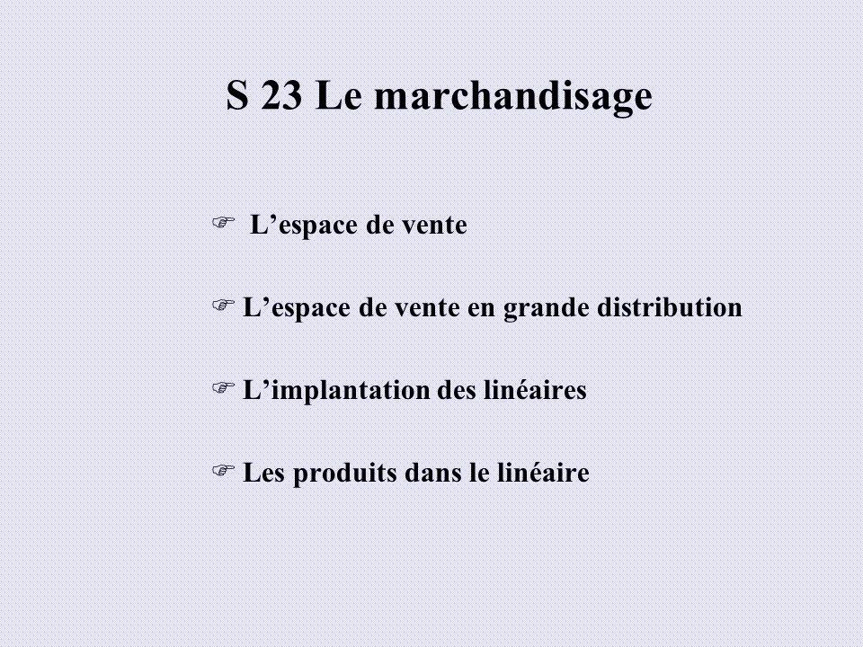 S 23 Le marchandisage L'espace de vente