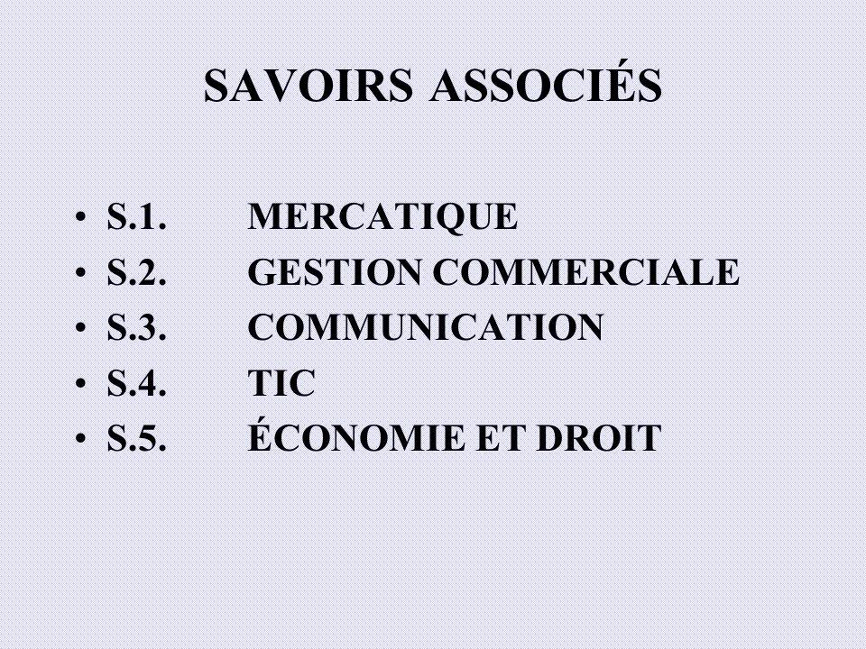 SAVOIRS ASSOCIÉS S.1. MERCATIQUE S.2. GESTION COMMERCIALE