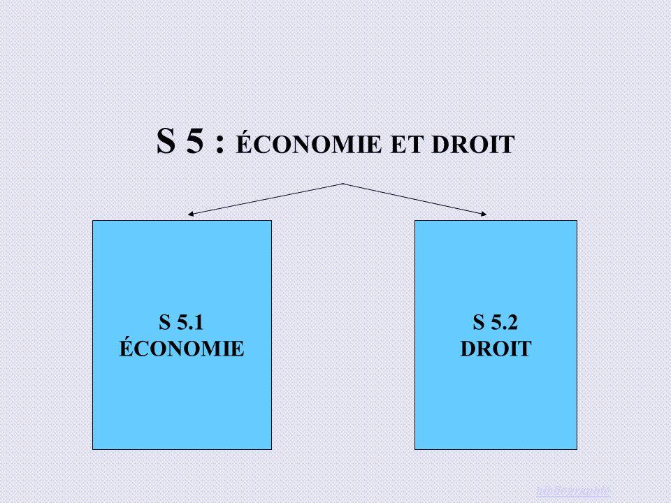 S 5 : ÉCONOMIE ET DROIT S 5.1 ÉCONOMIE S 5.2 DROIT bibliographie