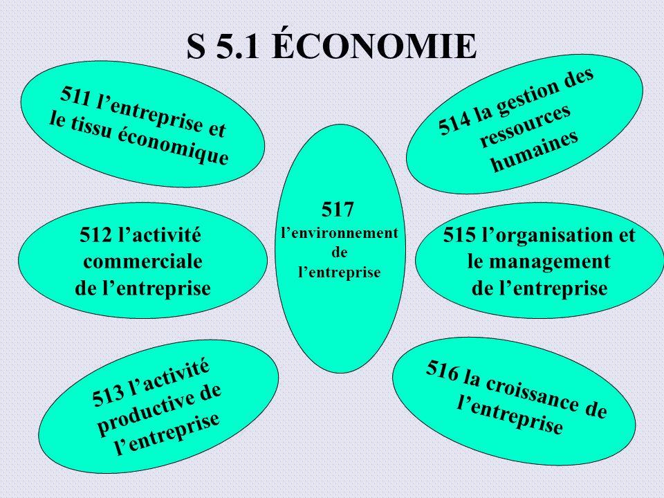 S 5.1 ÉCONOMIE 511 l'entreprise et le tissu économique