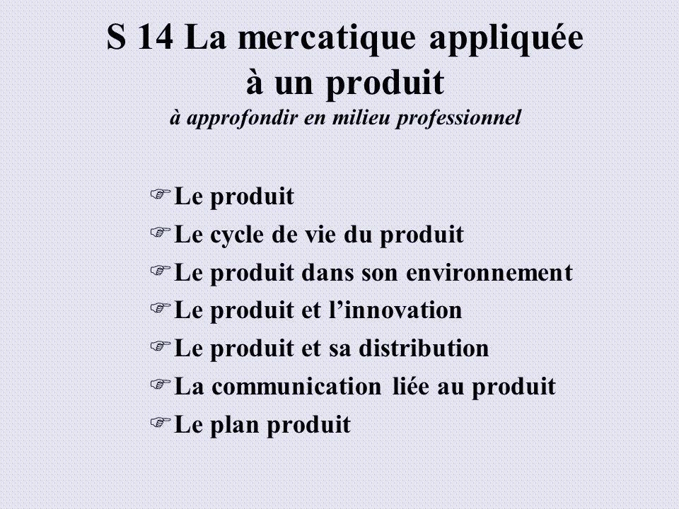 S 14 La mercatique appliquée à un produit à approfondir en milieu professionnel