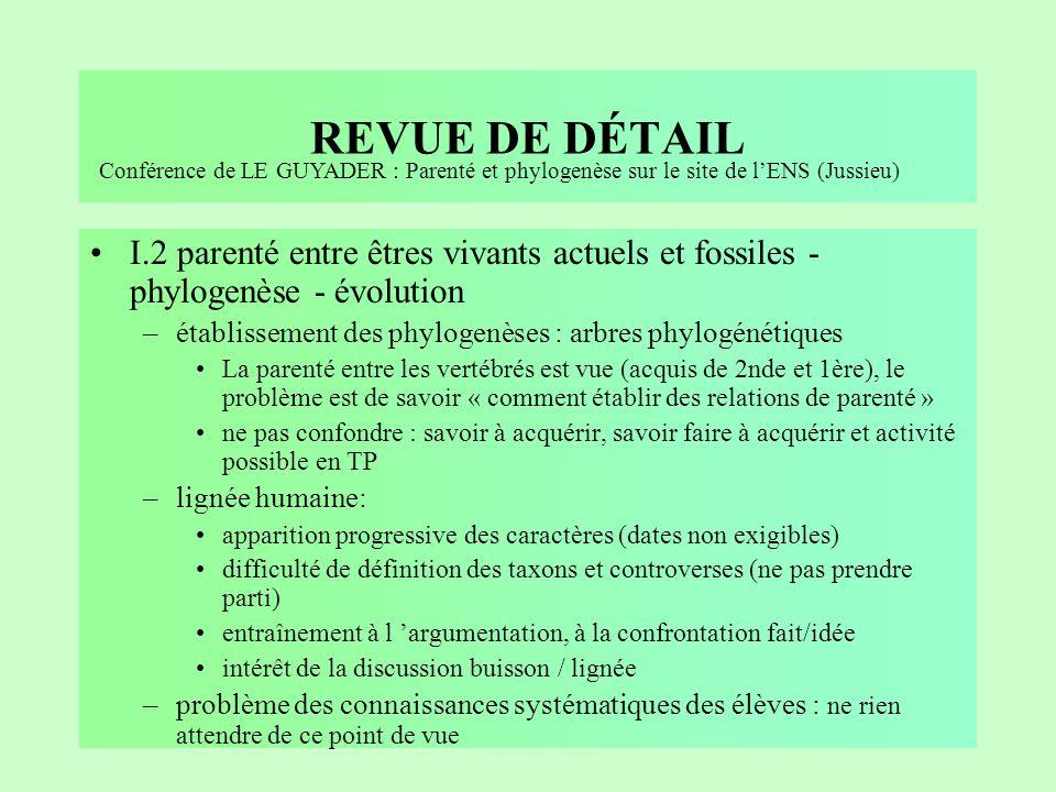 REVUE DE DÉTAIL Conférence de LE GUYADER : Parenté et phylogenèse sur le site de l'ENS (Jussieu)