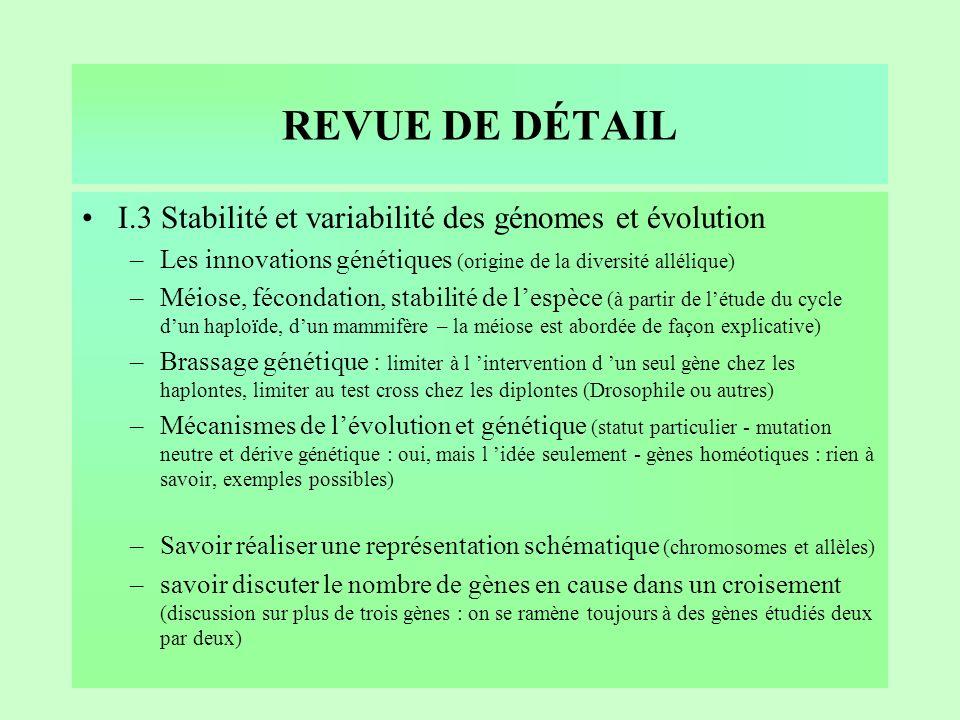 REVUE DE DÉTAIL I.3 Stabilité et variabilité des génomes et évolution