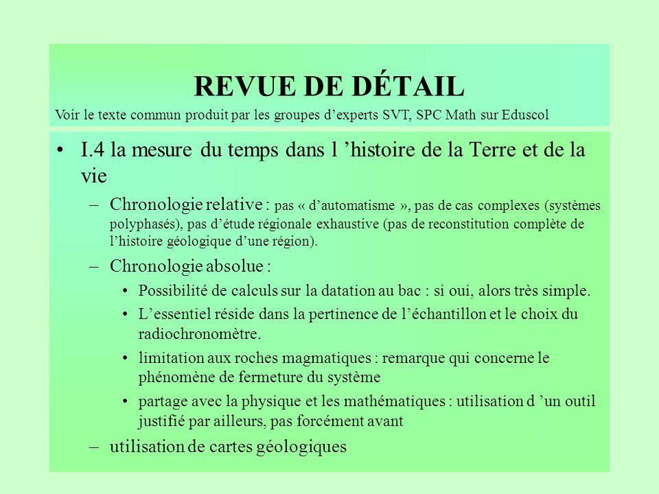 REVUE DE DÉTAIL Voir le texte commun produit par les groupes d'experts SVT, SPC Math sur Eduscol.