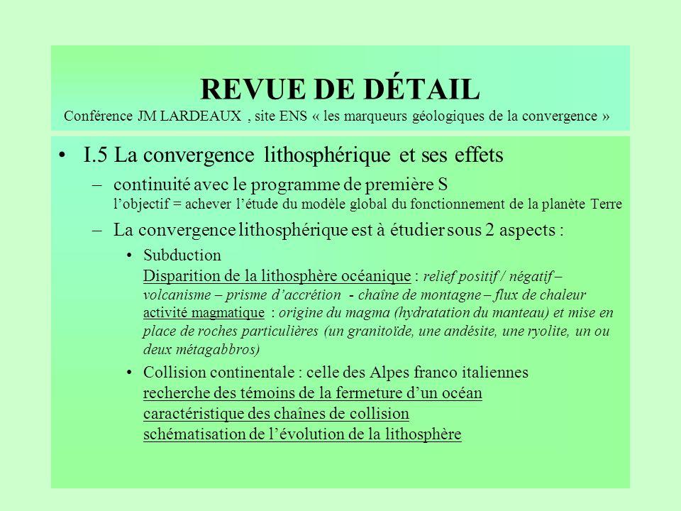 REVUE DE DÉTAIL I.5 La convergence lithosphérique et ses effets