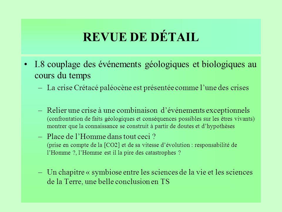 REVUE DE DÉTAIL I.8 couplage des événements géologiques et biologiques au cours du temps.