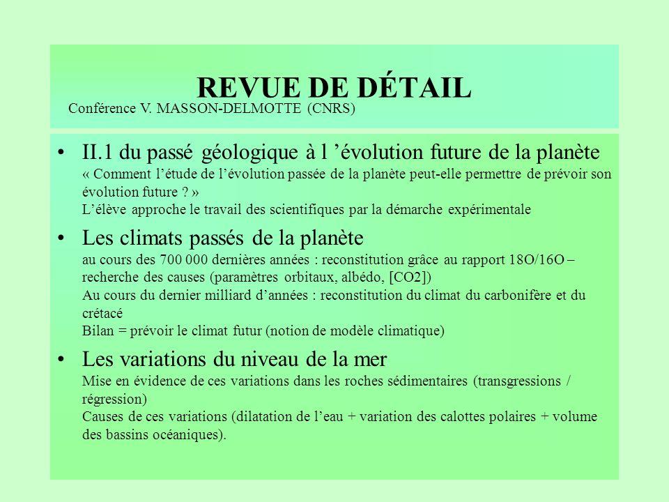 REVUE DE DÉTAIL Conférence V. MASSON-DELMOTTE (CNRS)