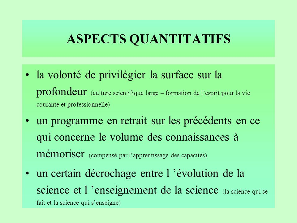 ASPECTS QUANTITATIFS